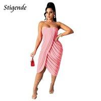 Casual Dresses Stigende Women Summer Sleeveless Ruched Sexy Strapless Split Hem Midi Sundress Off Shoulder Solid Color Night Club Wear