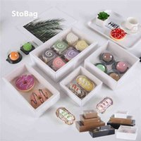 StoBag 10pcs Cookie Cake Food Paper Box Carton With Transparent Cover Donut Chocolate Birthday Gift Box For Event & Party Favors 210402