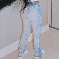 Jeans Liooil Patchwork NY Lápiz Mujer High Cintura Streetwear Wash Ospered Onsced Jean Pantalones Sexy Bodycon Denim Pantalones