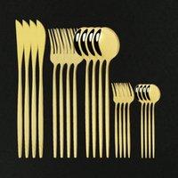 Jantar 20 pcs Cutelaria De Aço Inoxidável Talheres De Bolo Forquilha Faca De Jogo De Dinnerware Home Flatware Modern Gold Mirror Sets