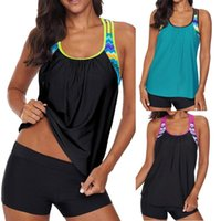 Frauen Tankini Zwei Teil Plus Size Badeanzug mit Shorts Hohe Taille Badebekleidung Weibliche Badeanzug Strand Badewanne Maios 2021 # T2Q Frauen