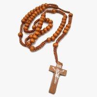 カトリックロザリオネックレス木製ビーズ手作りクロスネックレス宗教ジュエリー