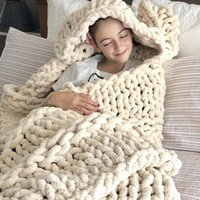 Blankets Chenille Chunky Knitted Plush Blanket Weaving Mat Throw Chair Decor Warm Weighted Home