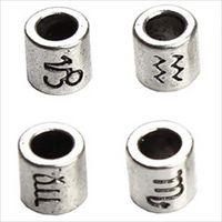 60 pçs / lote 12 Constellation e Zodiac Sign Design Antique Prata Banhado Espaçador Beads Fit Charme Pulseira 7.5x7.5mm F3061 1147 T2