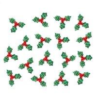 1.4 pulgadas de baya roja con hojas verdes Decoración de árbol de navidad Suministros de decoración de arte DIY Accesorios de tela para adornos de fiesta