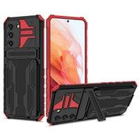 Hybrid Armor Shockproof Phone Cases For Samsung Galaxy A02 M02 A12 M12 A32 A52 A72 A22 M32 Card Slots Bracket Stand Holder