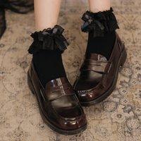 2021 New Lolita Cute Lace Socks Women Ruffles Female Kawaii Breathable Cotton Ankle Princess Solid Lady Harajuku Vintage Soft Short Socks