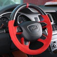 DIY сшитая ручной кожаной кожей из углеродного волокна замшевой крышки рулевого колеса для Audi A4L A3 A5 A7 Q3 Q5 A6L Q7