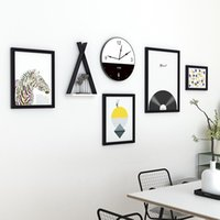 Frames 6 Pieces set Modern Hanging Pictures Creative Wall Clock Hallway Square Po Shelf Accessories For Home Decor