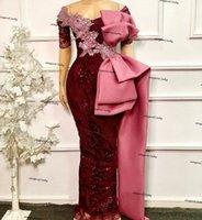 Élégante manches courtes africaines Robes de soirée sirène 2021 de la dentelle de l'épaule perlée Bourgogne Big Bow Robes de Brow Pal Robe de Soirer