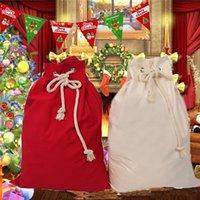 Large Christmas Santa Sacks Red Beige Drawstring Candy Apple Bag Xmas Decorations Home Decor 48x70cm