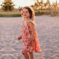 2021 summer girls princess dress children floral linen sleeveless ruffle beach dresses fashion kids vacation style sundress S1108