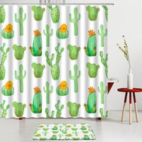 Shower Curtains Tropical Green Plants Cactus Set Flower Pattern Bath Mats Screen Bathroom Rug Room Decoration Carpet