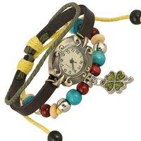 Charm Bracelets Western Style Vintage Punk Hip Hop Hand-stitched Cowhide Watch Mens Ladies Bangle