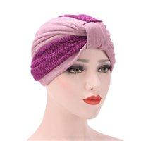 Otoño e invierno estilo bufanda color costuras pliegue el sombrero musulmán vestido musulmán turbante hijab turbante mujer mujer étnico