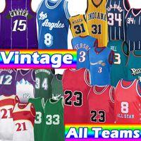 Retro Basketbol Formaları Vintage Los 23 8 Angeles Iverson Vince Allen Carter Jersey Steve Malone McGrady Hakeem Nash Olajuwon Ray Garnet Miller Hill Rodman Gömlek