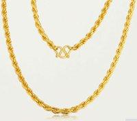 Collier corde en or jaune pure / 24K 999 Collier de concepteur lourd 6,8 g chaînes