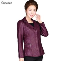 Women's Leather & Faux XL-6XL Jacket Spring Fashion Turn Down Collar Solid Zipper High Quality PU Jackets