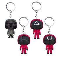 Squid Game Keychainy Decompression Toy Soldier Triangle Series Creative Charms Mini Doll Figurine Key Ring Car Backpack Pendant