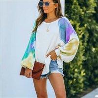 Women Casual Loose Sweatshirts Oversize Tie-dye Print Long Sleeve Autumn Tops Pullovers Ladies Sweatshirt Hoodies Women's &