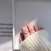 Cross-border ring Japanese and Korean star moon zircon platinum-plated opening simple jewelry adjustable girlfriend female