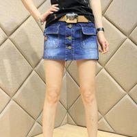 Jeans da donna Pantaloncini Estate Abbigliamento Estate Donne da donna Korean Ladies Short High Life Mini Slim Blue Washed Button Pockets Femme Denim Gonne per ragazze