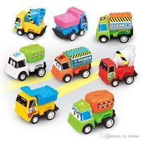 Mini Pull Back Engineering Car Tractor Toy Dump Truck Plastic Model Vehicle Educational Toys Children Wheels Set Cool Birthday Gift