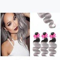 Bundles de cabelo cinzento da raiz escura 1b com fechamento cinzento de prata do laço de prata dois tons coloridos do cabelo do corpo da onda com o lote do fechamento 4pcs