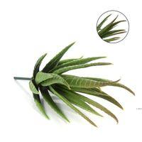 Реалистичные зеленые искусственные искусственные суккулентные растения алоэ листва поддельных пластиковых зеленых кактусов домашний сад украшения искусственного завода HWD6048