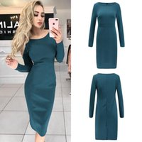 Casual Dresses Spring And Summer Fashion O-neck Pullover Solid Color Sexy Slim Mid-length Bag Hip Long-sleeved Dress Women