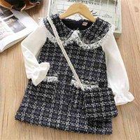Jargazol otoño niños ropa punto plaid manga larga princdrwinter wam velleco niño traje con bolsa vestidos x0509