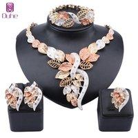 African Dubai Gold Nigerian collana di cristallo collana orecchini anello anello donna italiana gioielli da sposa set accessori da sposa