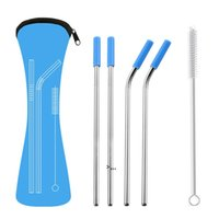 6Pcs set Reusable Stainless Steel Straight Bent Drinking Straws with Silicone Tips for Hot Cold Beverage Drink Bar Tools OWB10458