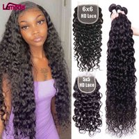 5x5 6x6 HD Lace Closure Water Human Hair Bundles With Frontal Only Lemoda Remy Peruvian Deep Wave Extension