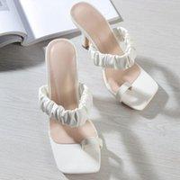 Dress Shoes Summer Women Slippers Slides Open Toe Low High Heels Sandal Female Leisure Beach Green White Flip Flops Size 41 42