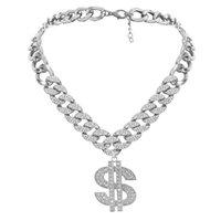 Diamonds Big US Gold Pendant Necklaces French Exaggerated Retro personality Cuban Clavicle Chain Fashion Rhinestone Temperament Niche Design Neck Jewelry Gift