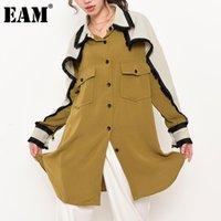 [EAM] Женские контрастные цвета BURR большой размер длинной блузки отворота рукава свободная подходит рубашка мода весна осень 2021 1da3000 женские блузки рубашки