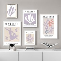 Paintings Nordic Poster Purple Abstract Matisse Nude Coral Leaf Paper Cut Wall Art Prints Canvas Painting Decor For Living RoomPictures