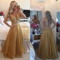 Sparkly Crystals Lace Top Mother of the Bride Dresses for Wedding Party Illusion Back Sheer Neck Floor Length Gold Evening Prom Gowns Custom Size