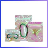 Geruchssicherer Mulit-Größe wiederverschließbar Mylar-Taschen wiederveralable klare schöne holographische Regenbogen-Farbverpackungs-Tasche 75F7
