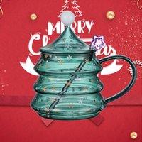 Wine Glasses 2022 Christmas Tree Mug Snow Mountain Cup High Boron Silicon Heat Resistant Cartoon Gift Merry