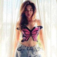 Women's Tanks & Camis Gothic Sexy Backless Butterfly Print Sling Low Cut Lace Up Crop Top Club Summer Women Outfits Streetwear Fashion Simpl