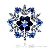Fahmi 2019 Vintage Blue Blue Flower Broches Pour Femmes Chapeaux Robes Cristaux Rond Corsage Antique Argent Plaqué Turquie Broche Turquie Broche Drowship Femme