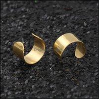 Clip-On-Schmuckklick-On-Schraube Rückenpunk Gothic Titan-Stahl-Ohr-Manschette Kein Loch-Clip Glatte Ohrringe Schmuck Drop-Lieferung 2021 HWDNS