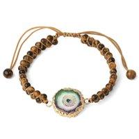 Pulseira de jóias Estilo criativo Anéis Anuais de Pedra Natural Colorido Pedra Natural Ágata Ágata Dupla Layer Largura Escalável Disponível para Mulheres