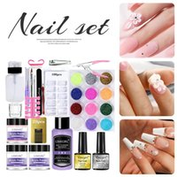 Nail Art Kits Full Acrylic Powder Kit With Base Top Coat Glitter Starter DIY Set Extension Carving Manicure No Cured Needed
