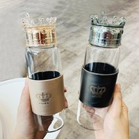 Fashion Glass Water Bottle Cup Crown Lid Body Cover Heat Resistant Arrival Drinking With Wine Glasses