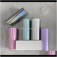 Tumblers Drinkware Kitchen, Dining Bar Home & Garden Drop Delivery 2021 20Oz Sublimation Skinny With St Stainless Steel Glitter Wine Mugs Rai