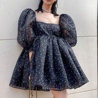 Casual Dresses Vestidos florais femininos de verão, vestido fofo palácio com gola quadrada, manga bufante, mini princesa coreano, 6C1T