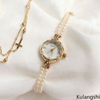 Natürliche Süßwasserperlenuhr Frauen Armband Quarzuhr High-End Mode Frauen Armbanduhr Geschenkbox 6279